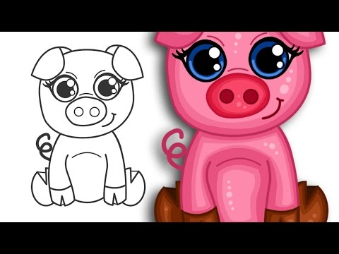 How to draw a super cute cartoon pig | Step by Step Drawing