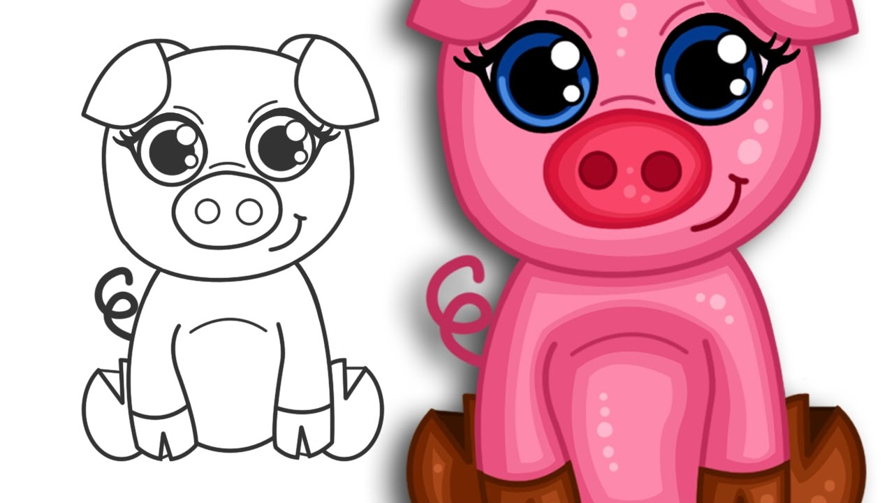 how to draw a super cute cartoon pig step by step drawing youtube