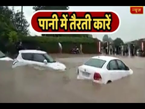 Water-logging in Chandigarh after three hours of rain makes cars float