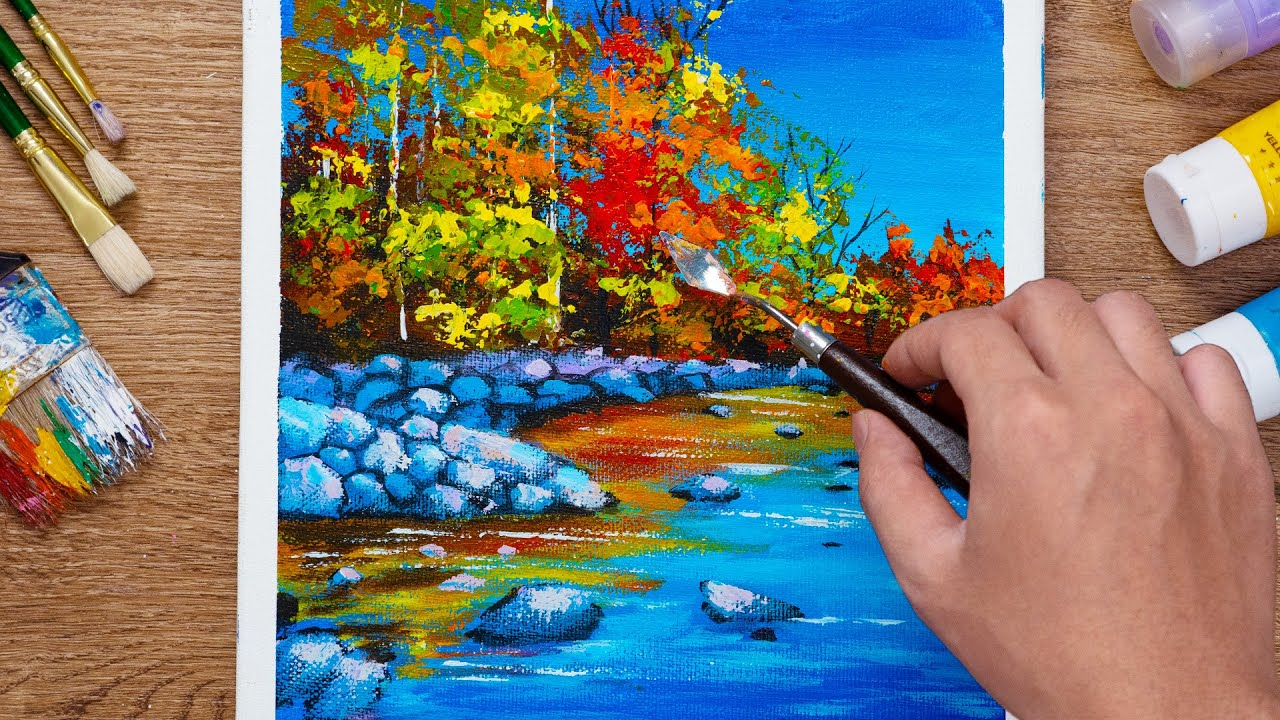 How to Paint Water Stream Landscape / Acrylic Painting  - Daily 101