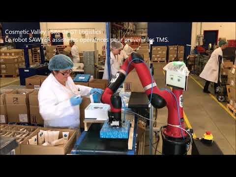 Robot collaboratif Sawyer sur le site de GT Logistics, cosmetic valley