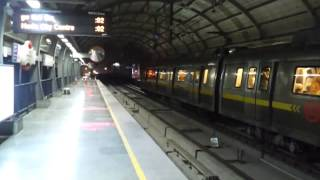Delhi Metro Yellow Line Bombardier MOVIA Broad Gauge train at M.G. Road Metro Station