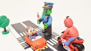 BABY SUPERHEROES POLICE JOB - Stop motion Play Doh & Clay Animations For Kids