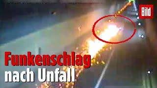 Auto sprüht nach Autounfall Funken | Irre Fahrt eines betrunkenen Mannes