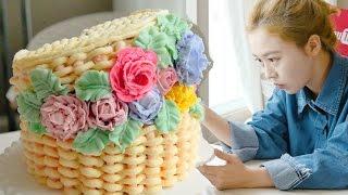 Flower basket cake, 소녀감성~♥ 꽃바구니 플라워바스켓 만들기 - 더스쿱