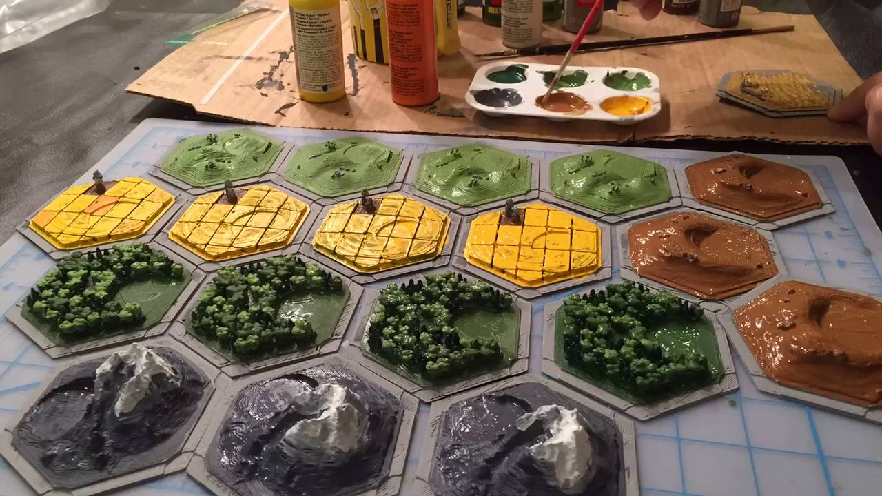 photo about Settlers of Catan Printable titled Settlers of Catan Hand Painted Board Fastened - 3D Released