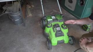 Greenworks Twin Force Mower Review -  Part 1 -  Features, Cost, Solar Charging
