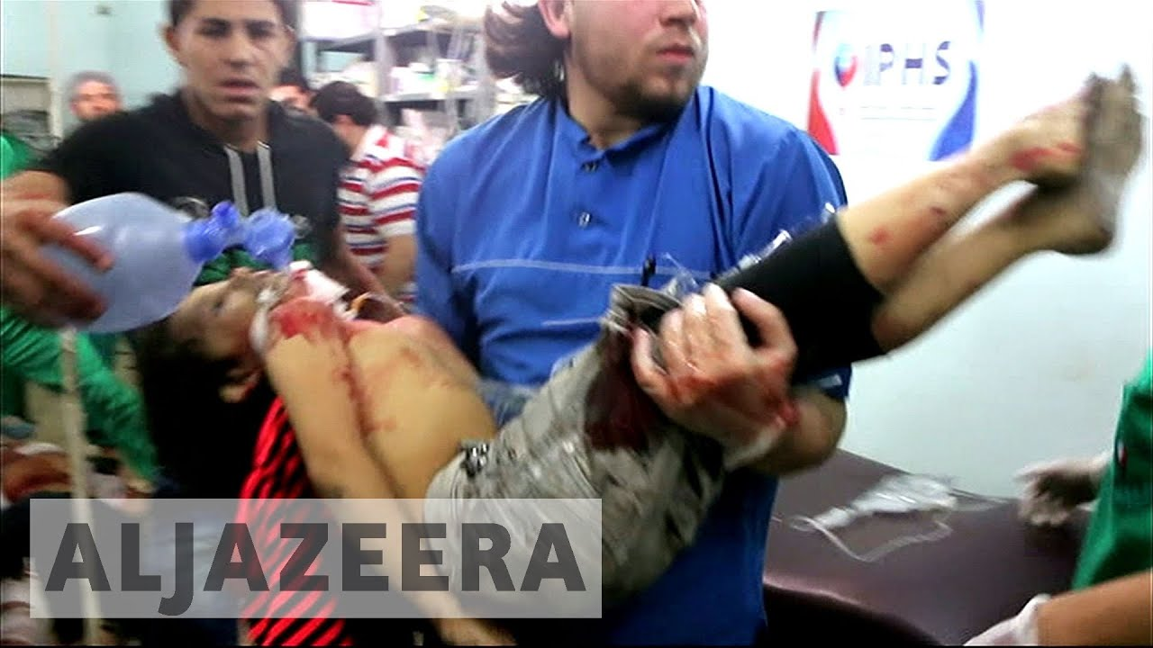 Bodies on the floor in Aleppo hospital