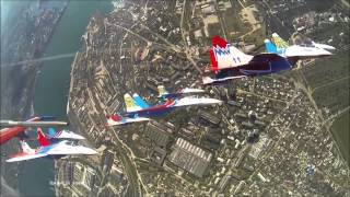 RUSSIAN MILITARY AIRCRAFT - SWIFTS  AND  RUSSIAN VITIASY  IN THE SKY SEVASTOPOL(RUSSIAN MILITARY AIRCRAFT.