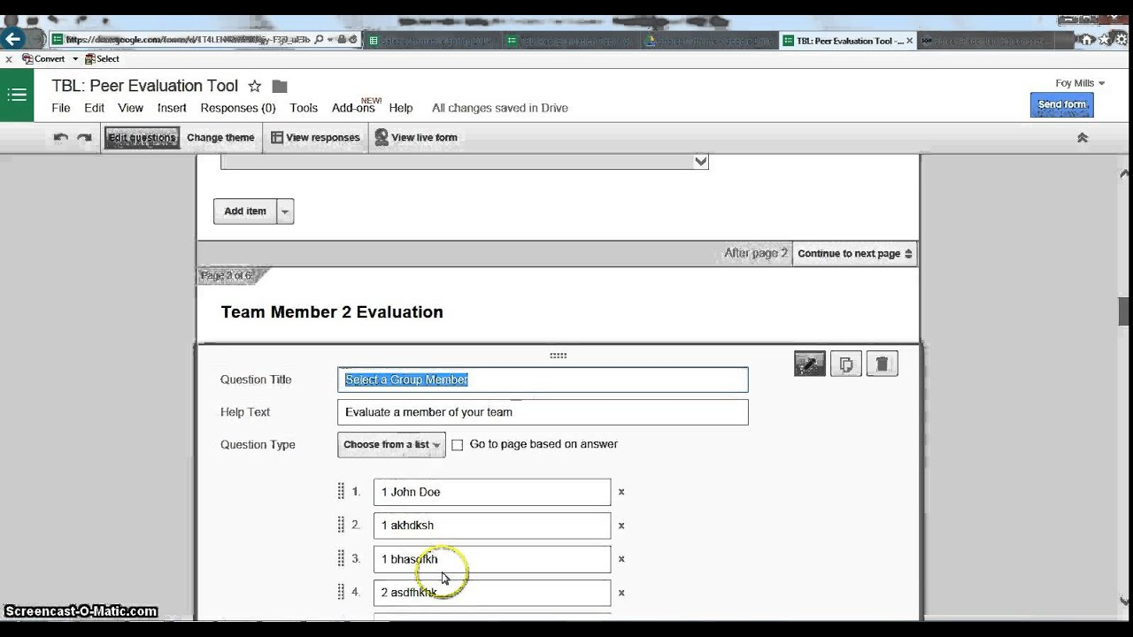How To Developing a Peer Evaluation Google Form YouTube – Peer Evaluation Form
