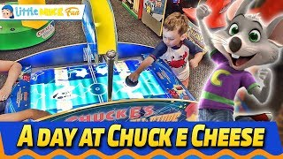 Indoor Games For Kids | A Day at Chuck E. Cheese | Little Mike Fun