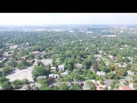 Pelham, New York. Drone View of Manor Ridge Road and surroundings