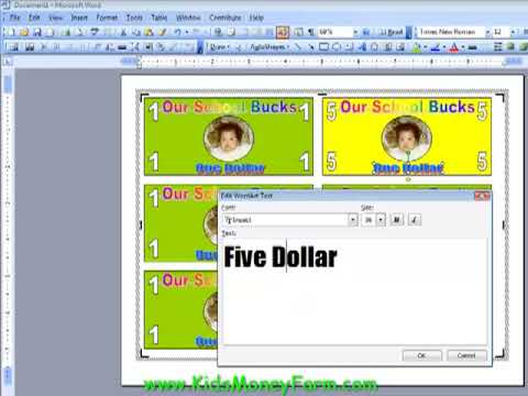 Create Kids Play Money Templates Using Word - Part 2 - Youtube