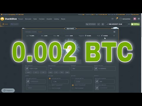 0.002 BTC Profit With FLASHBETS DuckDice Strategy