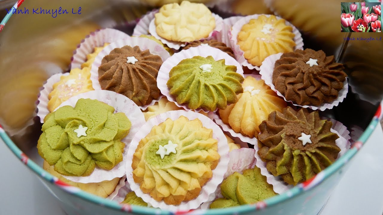 BÁNH QUY BƠ THƠM NGON GIÒN BÉO - Cách làm Butter cookies nhiều mùi vị by Vanh Khuyen