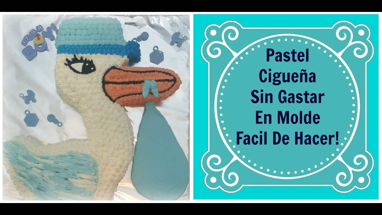 Pastel Cigue±a Sin Gastar En Molde Baby Shower