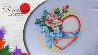 Coração, Rosa e Fita por Sonalupinturas