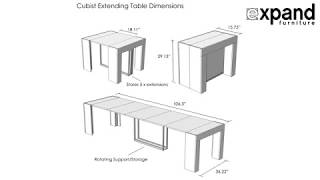 Cubist table with stored extensions