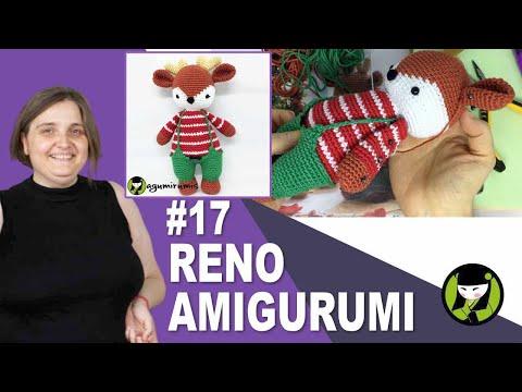 RENO AMIGURUMI NAVIDEÑO 17 tirantes tejidos a crochet