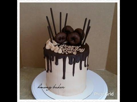 Tall Chocolate Drip Birthday Cake