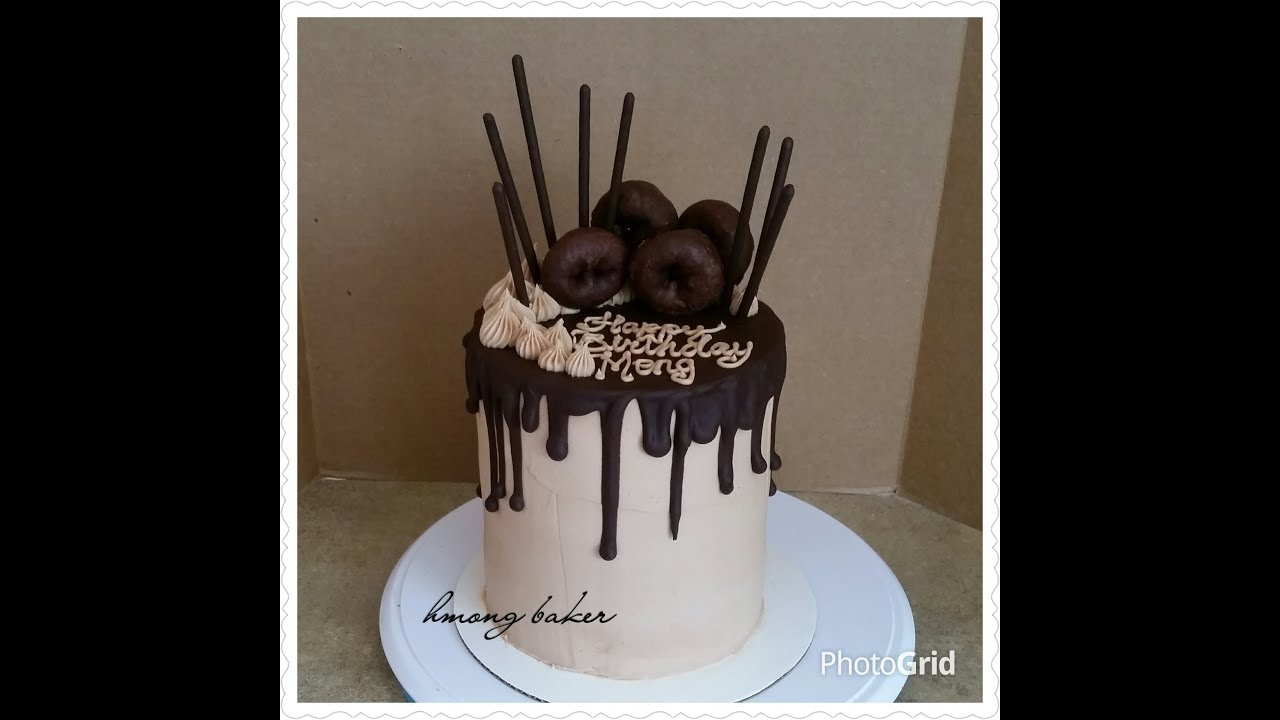 Tall Chocolate Drip Birthday Cake