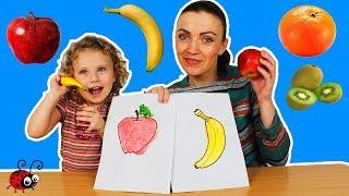 Fructe Desenate vs Fructe Adevarate   Invatam Culorile cu ajutorul FRUCTELOR  