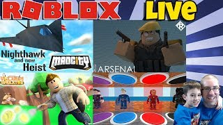 🔴 ROBLOX LIVE 🏕️ Mad City, Arsenal, vácuo Sim, Superhero Tycoon & mais!!!