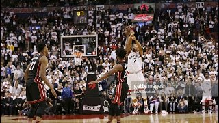 Repeat youtube video Kyle Lowry Buzzer-Beater sends it to OT. Heat @ Raptors. Game №1 (03.05.2016)
