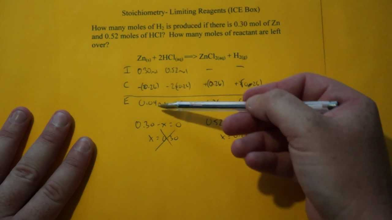 Stoichiometry limiting reagent ice box youtube robcynllc Image collections