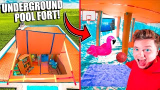 Turning My Empty Pool Into An ULTIMATE BOX FORT (24 Hour Challenge)