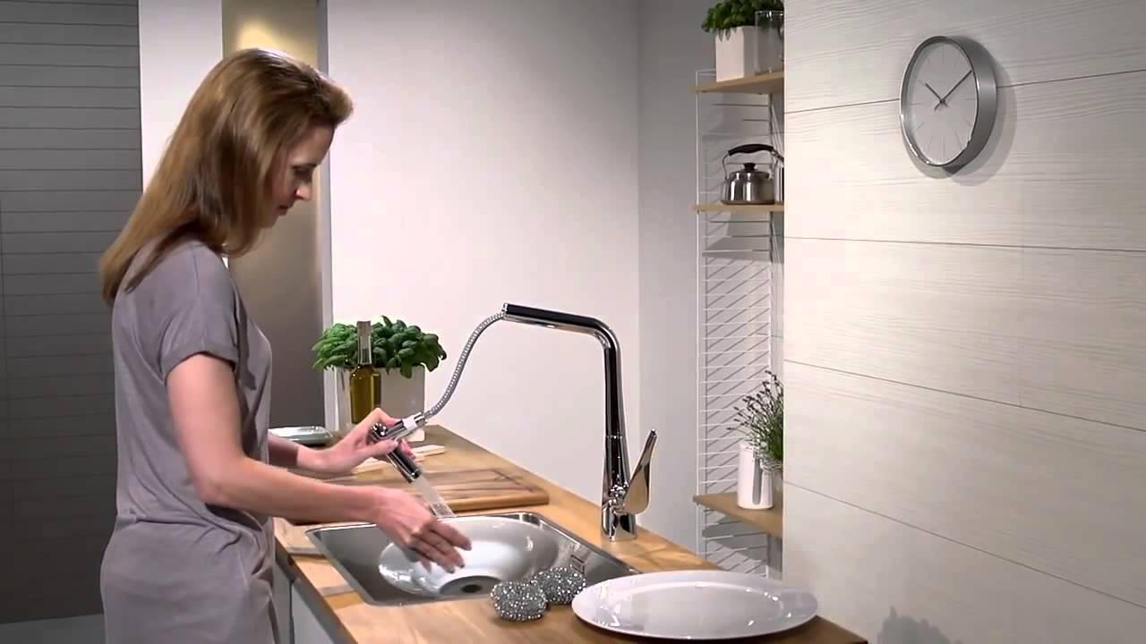 hansgrohe metris kitchen mixer pull out spray - youtube - Hansgrohe Metris Küche