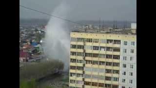 Прорыв трубы. Вид с Титова 182, Новосибирск.