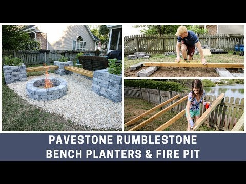Pavestone RumbleStone Bench Planter And Fire Pit DIY Installation