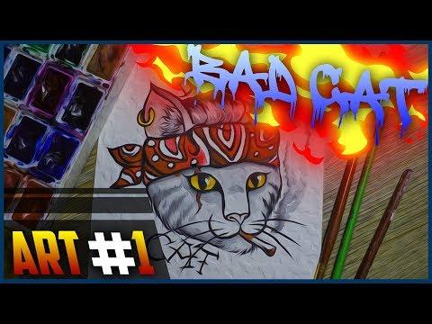"""""""BAD CAT""""! Рисунок акварелью!! 🔴 thumbnail"""