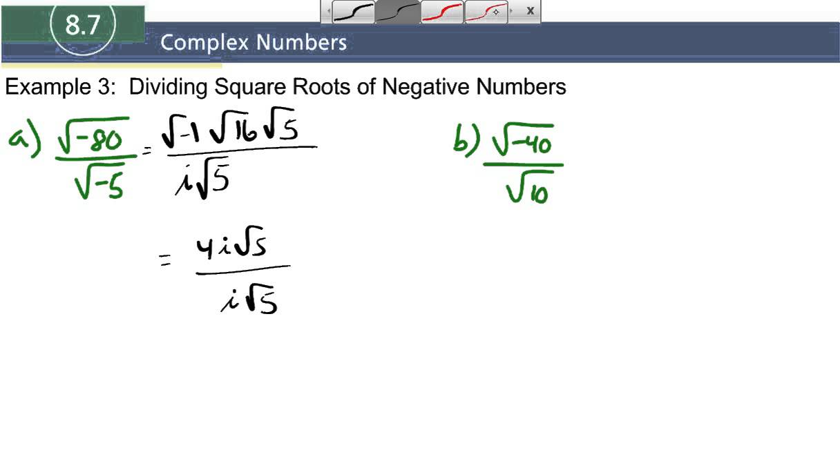 87 example 3 dividing square roots of negative numbers youtube 87 example 3 dividing square roots of negative numbers ccuart Gallery