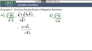 8 7 example 3 dividing square roots of negative numbers