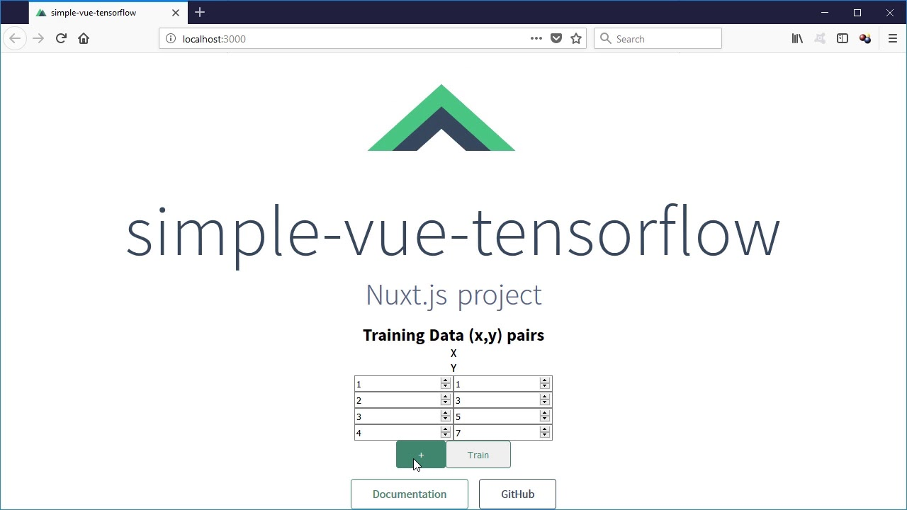 Creating a tensorflow js + vue js simple application in javascript