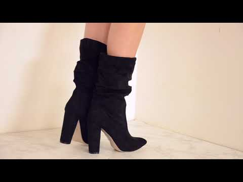 BE HUMBLE SUEDE HIGH HEELED BOOTIES