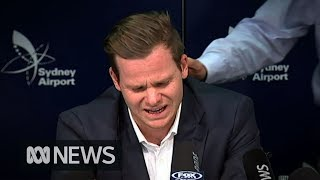 Steve Smith breaks down during ball tampering press conference | ABC News