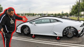 I Removed his LAMBORGHINI WHEELS.. (LEFT STRANDED) *PRANK*
