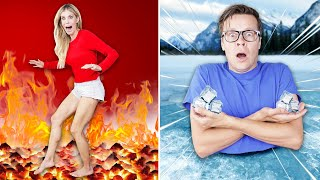 World's Largest Board Game Hot Vs Cold Challenge  Matt and Rebecca Zamolo