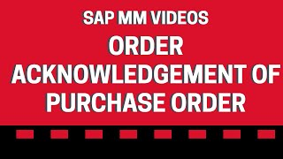 Satın alma Siparişi sipariş Alındı - SAP MM videolar