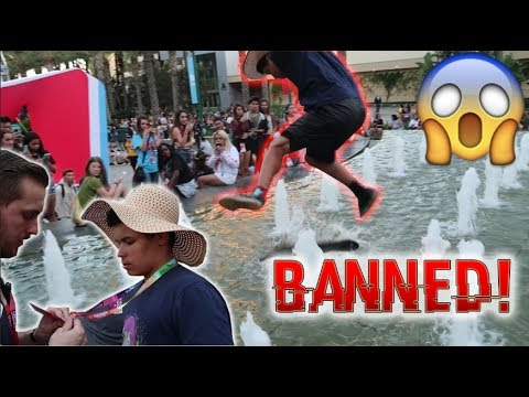 SKATING IN THE FOUNTAIN AT VIDCON! (BANNED FOR LIFE)