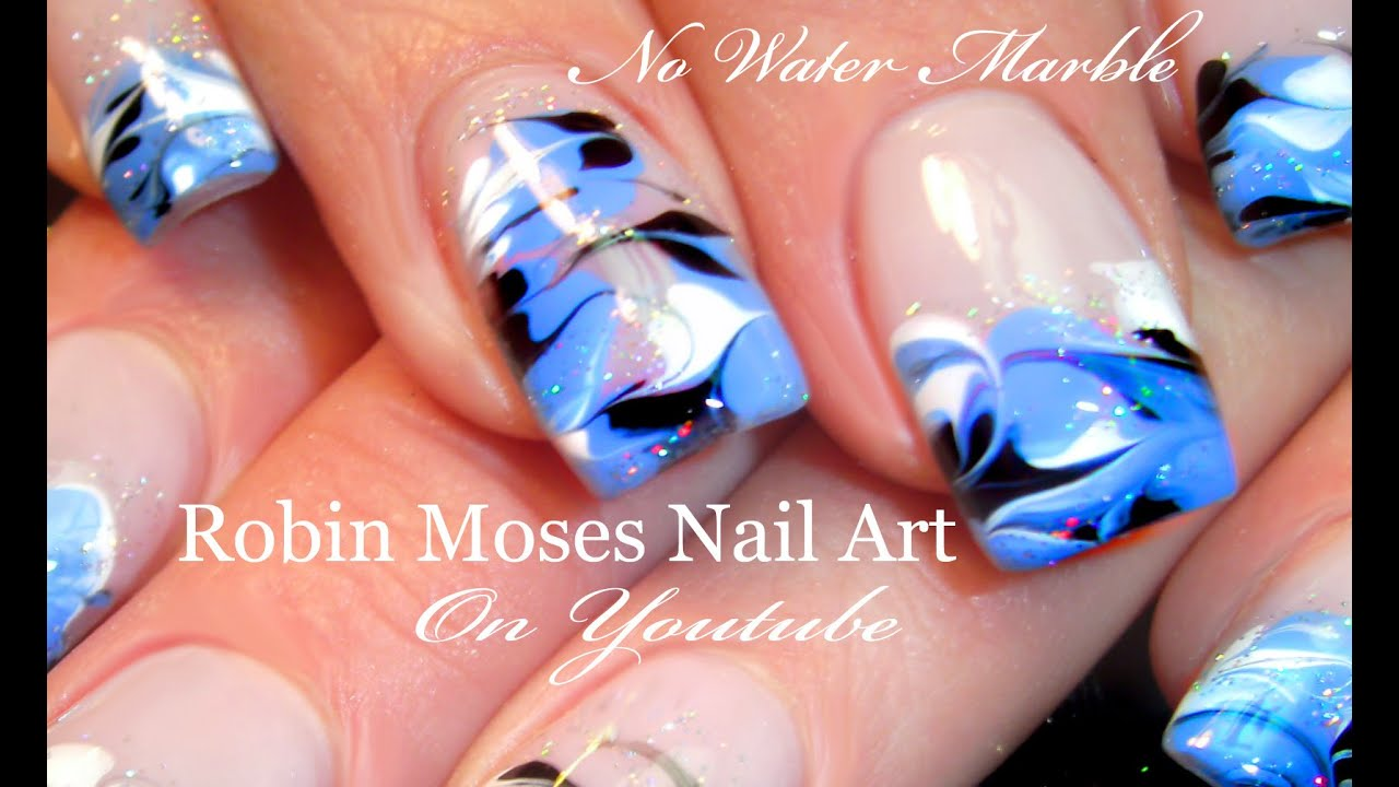 No Water Needed - Drag Marble nail art Tutorial - YouTube