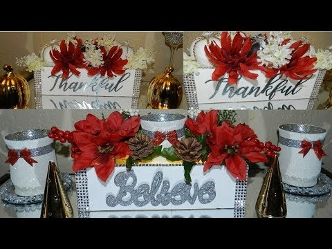 DIY Elegant Christmas Home Decor| Floral Wooden Box Centerpiece DIY| Dollar Tree DIY