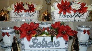 DIY Elegant Christmas Home Decor| Floral Wooden Box Centerpiece DIY| Dollar Tree DIY