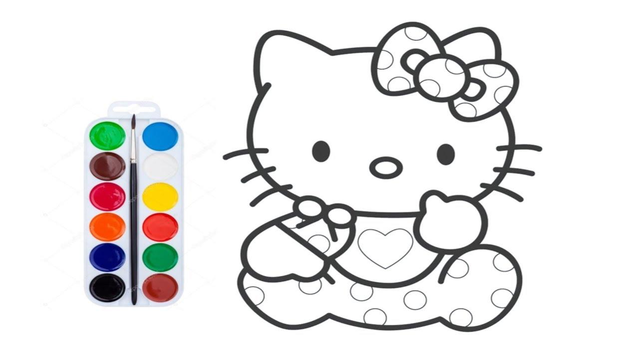 Хелло Кити😻 раскраска для детей😍 Учим цвета. Hello Kitty ...