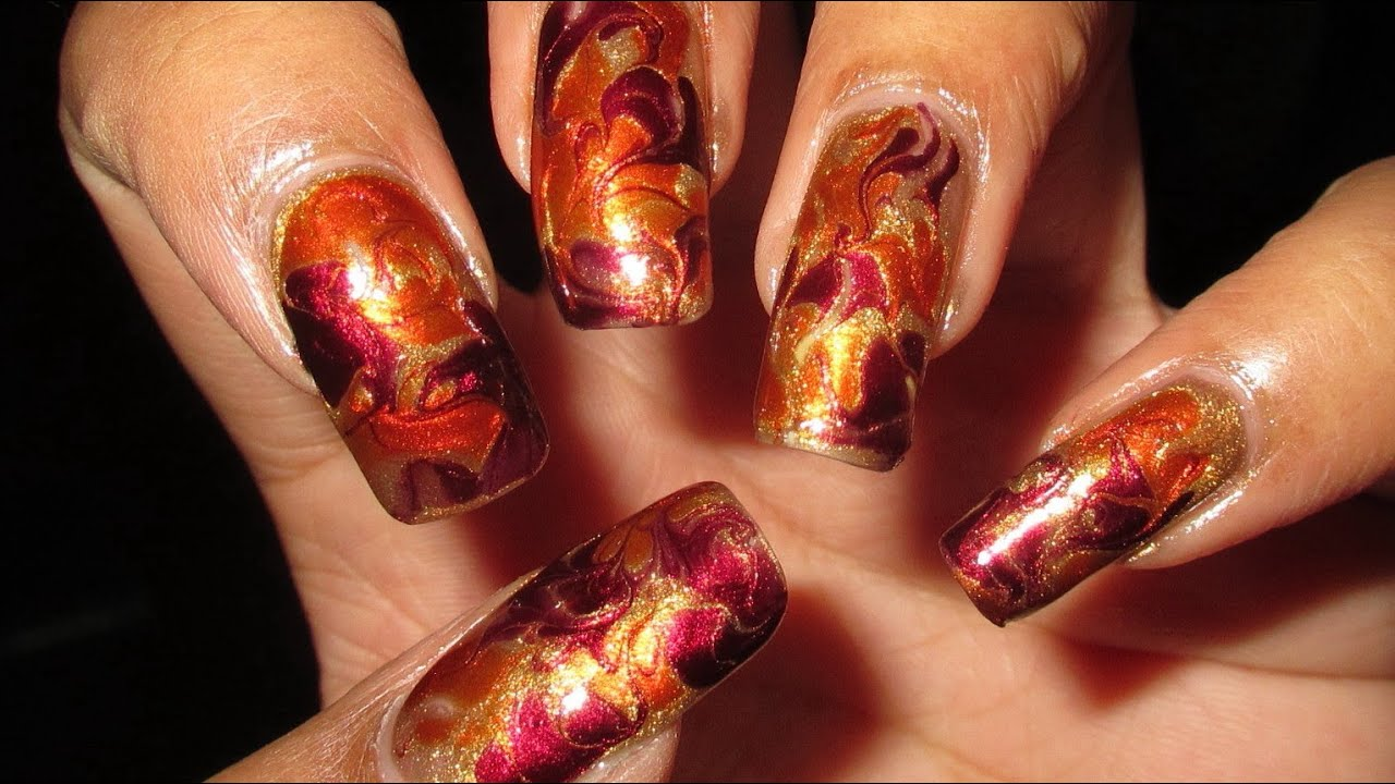 Fire Inspired Fall Colors Drag Marble Nail Art Tutorial Youtube