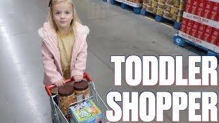 TODDLER GOES GROCERY SHOPPING ALL BY HERSELF! ADORABLE 3-YEAR-OLD GROCERY HAUL