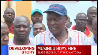 Morning fire destroy dormitory housing hundreds of students at Musingu boys high school in Kakamega